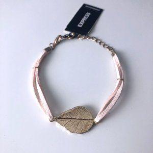 Express Pink Suede Gold Leaf Bracelet